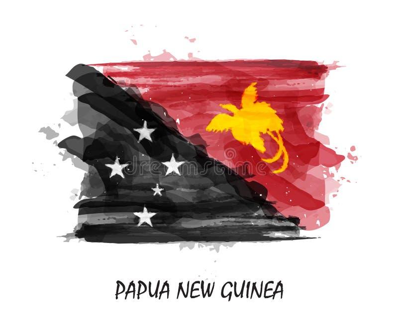 巴布亚新几内亚的现实水彩绘画旗子 向量 皇族释放例证