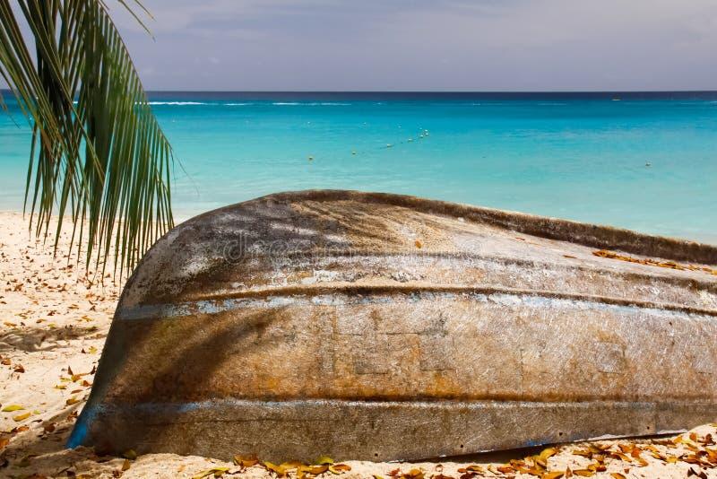 巴布达使加勒比热带靠岸 免版税库存照片