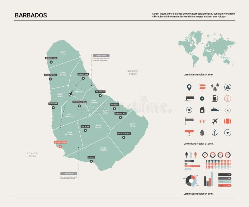 巴布达映射向量 与分裂、城市和首都布里季敦的高详细的国家地图 政治地图,世界地图, 向量例证