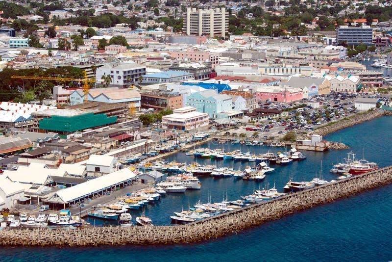 巴布达bridgetown视图 库存图片