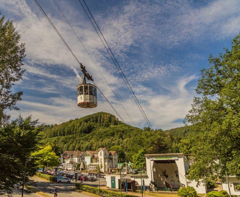 巴德哈尔茨堡,下萨克森,德国,7月27日 2018年:以谷驻地为目的历史的电车 库存照片