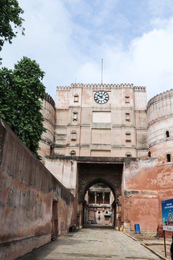 巴德拉堡垒手表塔,艾哈迈达巴德-印度 图库摄影