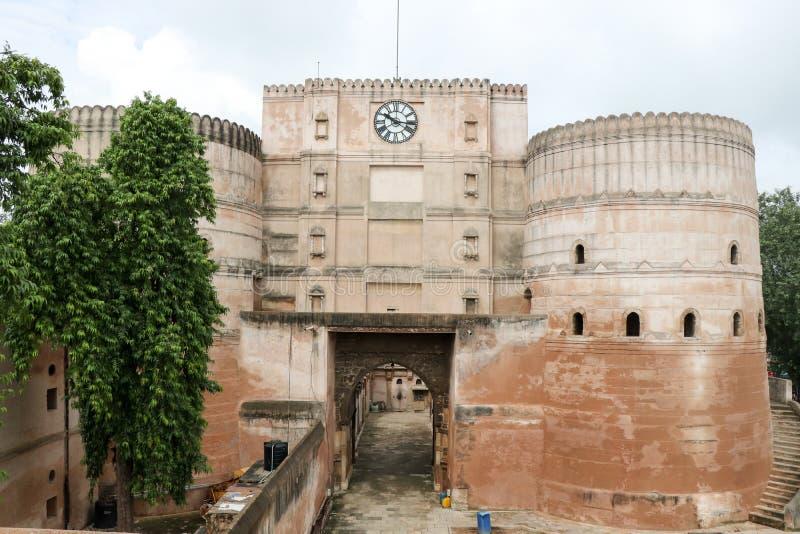巴德拉堡垒手表塔,艾哈迈达巴德-印度 库存图片