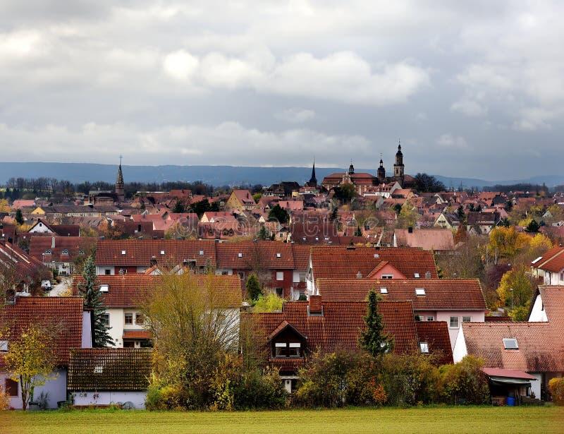 巴德温茨海姆镇风景看法在巴伐利亚,德国 免版税库存图片