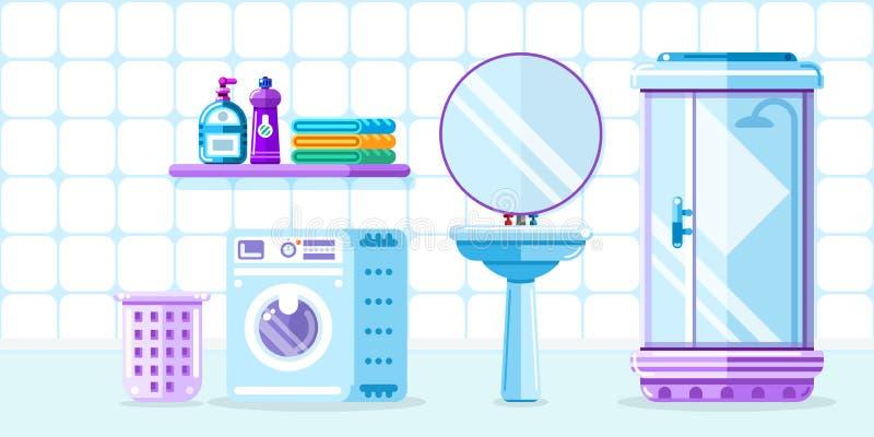 巴恩室内部,传染媒介平的样式例证 卫生间家具、阵雨客舱、水槽和洗衣机 库存例证