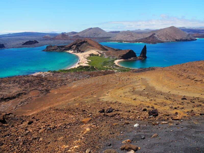 巴托洛梅岛海岛在加拉帕戈斯、旅行和旅游业厄瓜多尔里 免版税图库摄影
