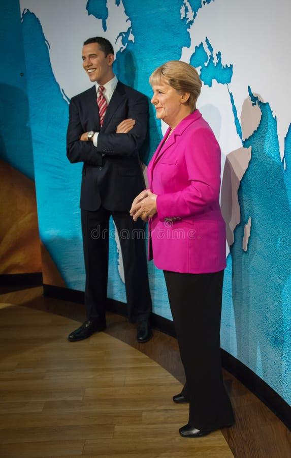 巴拉克・奥巴马和安格拉・默克尔在杜莎夫人蜡象馆博物馆  免版税图库摄影