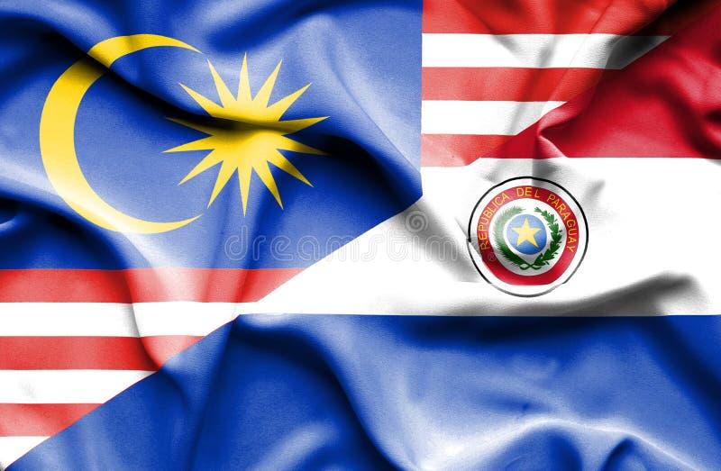 巴拉圭和马来西亚的挥动的旗子 皇族释放例证