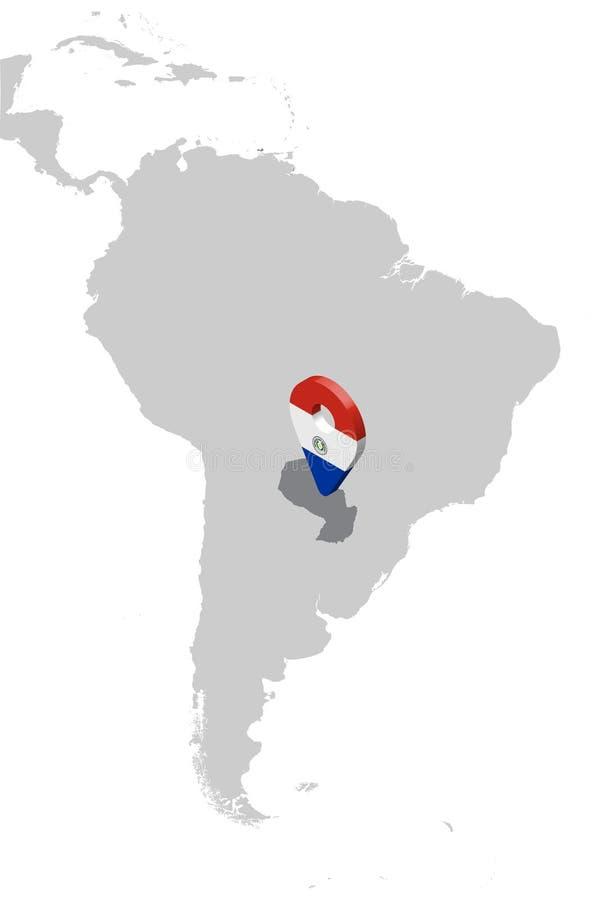 巴拉圭在地图南美洲的定位图 3d巴拉圭旗子地图标志地点别针 巴拉圭的优质地图 皇族释放例证