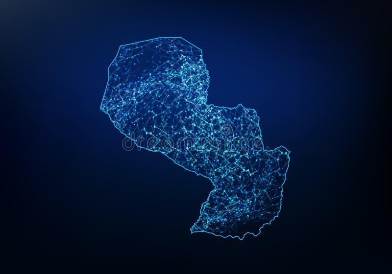 巴拉圭地图网络、互联网和全球性连接概念,导线框架3D滤网多角形网络线,设计球形摘要  库存例证