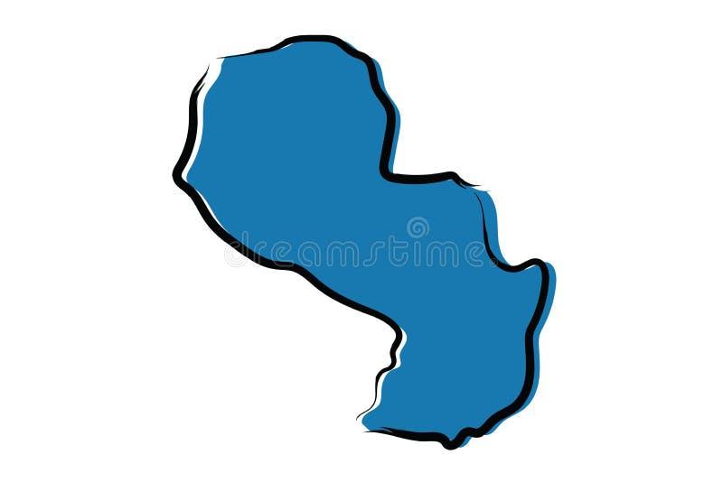 巴拉圭的风格化蓝色略图 皇族释放例证