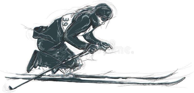 巴拉速度滑雪 巴拉体育和运动 手凹道 向量例证