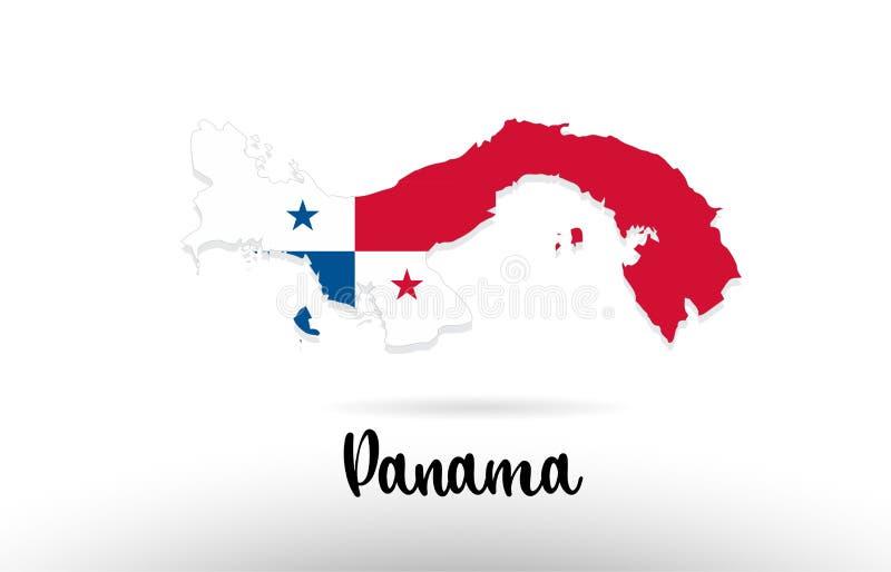 巴拿马在地图等高设计象商标里面的国旗 库存例证
