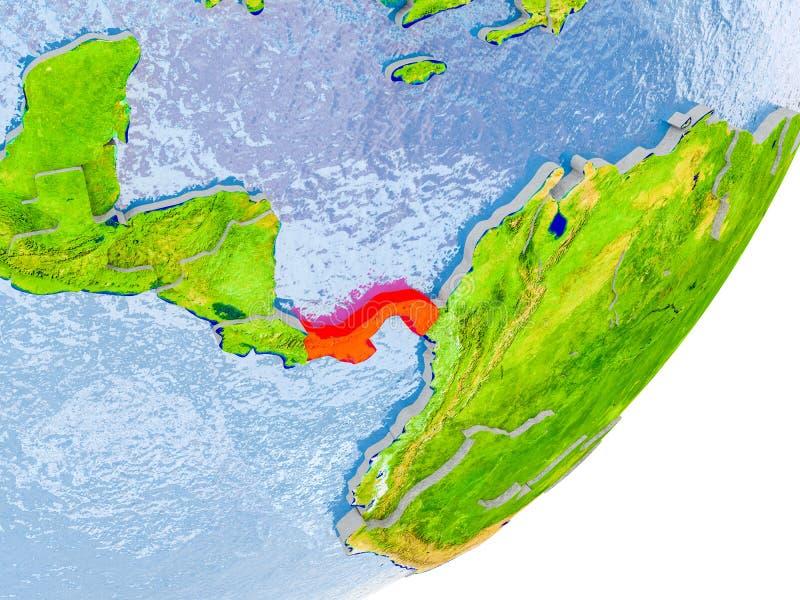巴拿马的地图地球上的 免版税库存照片