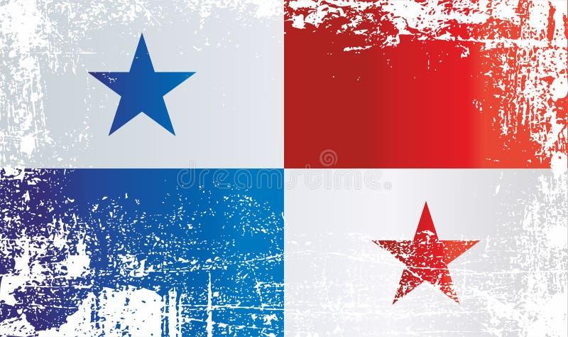 巴拿马的旗子 起皱纹的肮脏的斑点 免版税库存图片