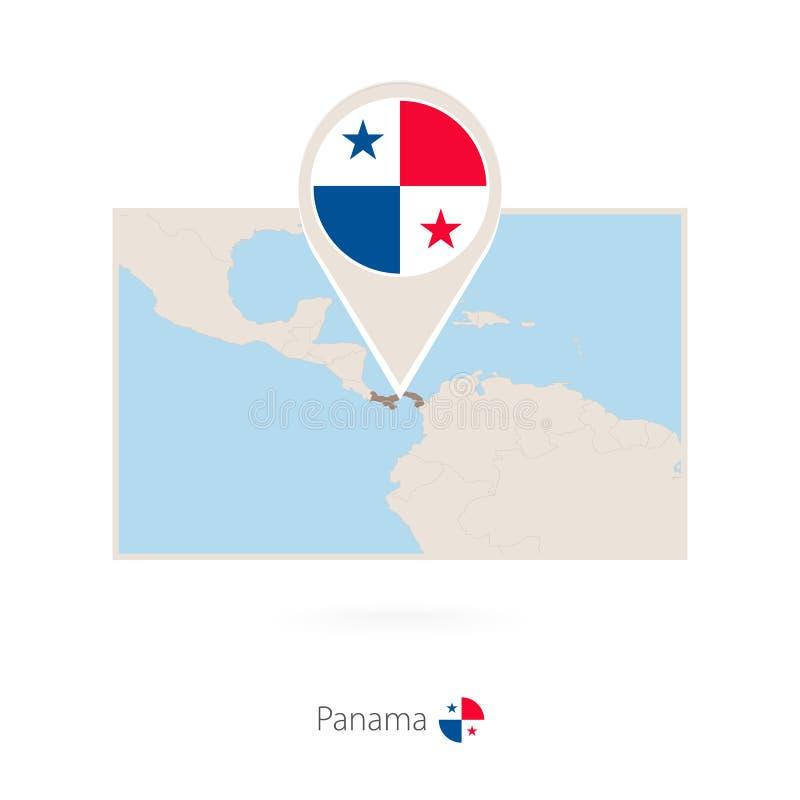 巴拿马的长方形地图有巴拿马的别针象的 向量例证