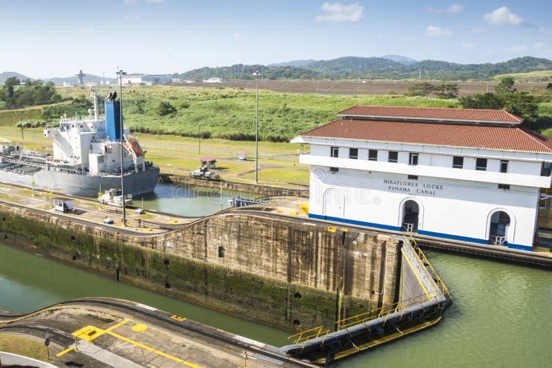 巴拿马运河宽视图 库存照片