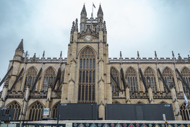 巴斯修道院教堂在萨默塞特英国 免版税库存照片