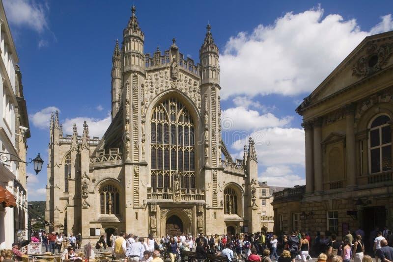 巴斯修道院教堂,萨默塞特英国英国 库存照片