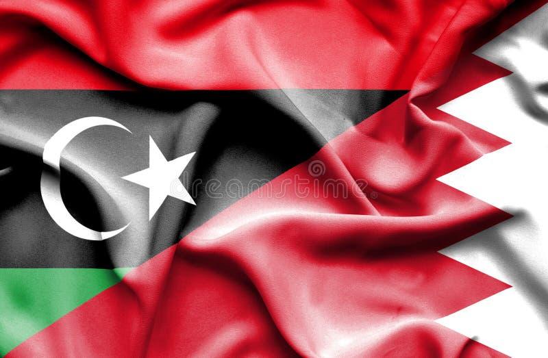 巴林和利比亚的挥动的旗子 库存例证