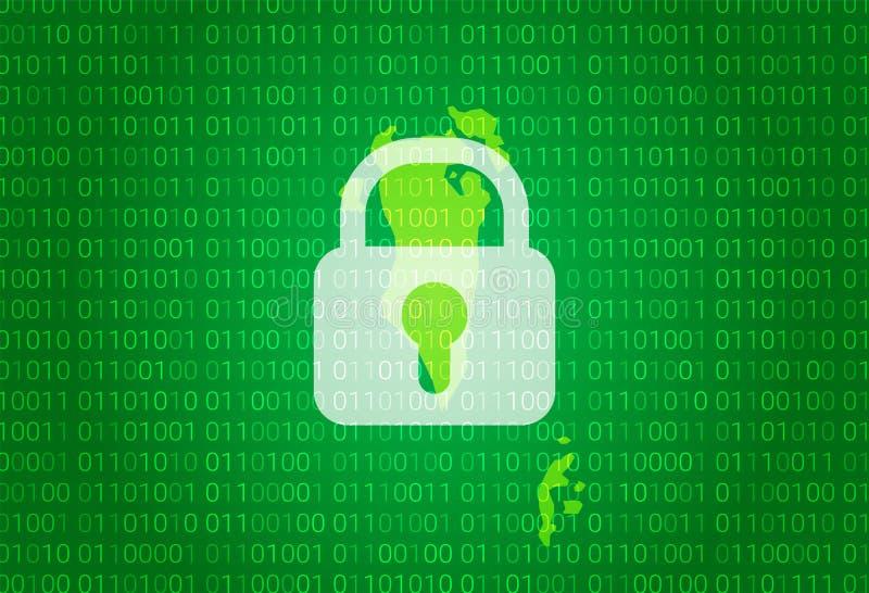 巴林映射 例证有锁和二进制编码背景 阻拦的互联网,病毒攻击,保密性保护 皇族释放例证