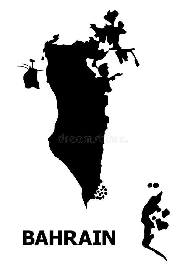巴林的传染媒介平的地图有名字的 向量例证