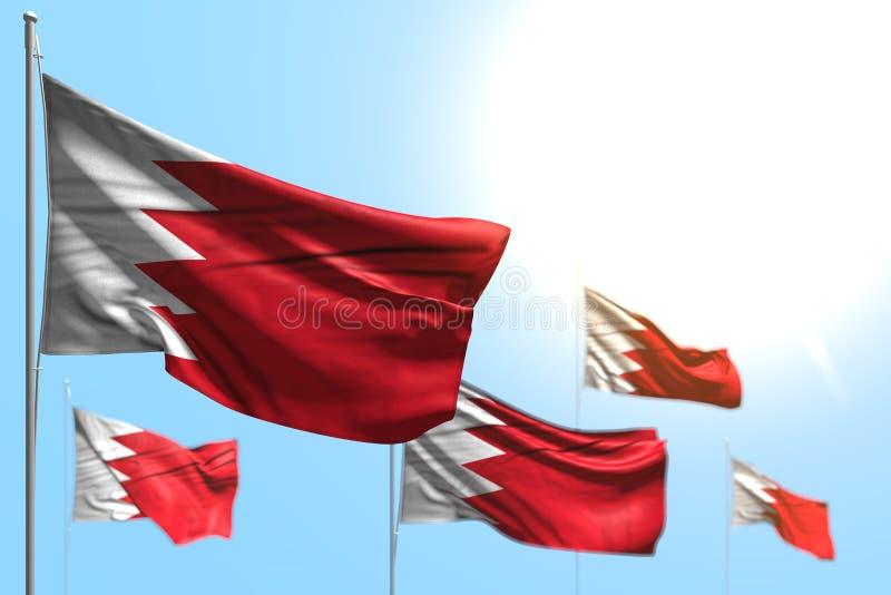 巴林的好的5面旗子是波浪反对与选择聚焦-所有假日旗子3d例证的天空蔚蓝图片 皇族释放例证