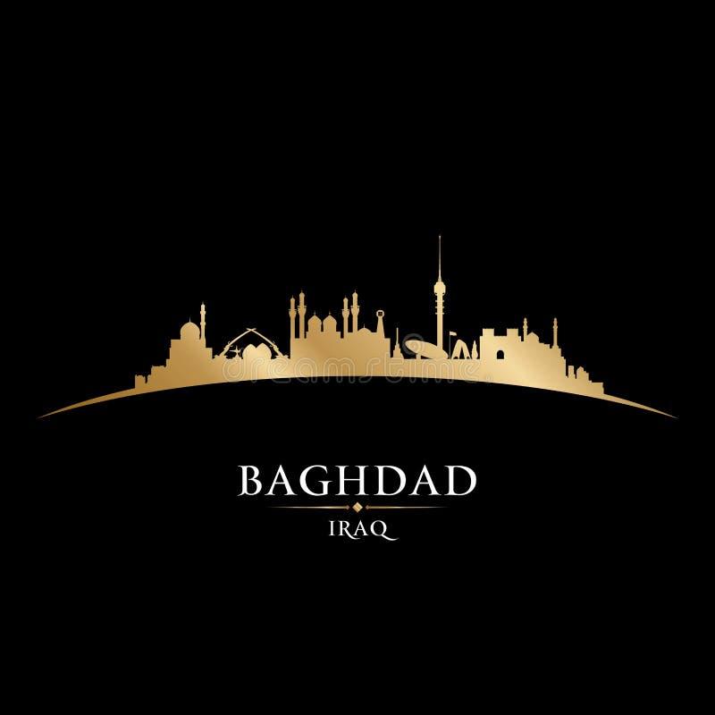 巴格达伊拉克市地平线剪影黑色背景 皇族释放例证
