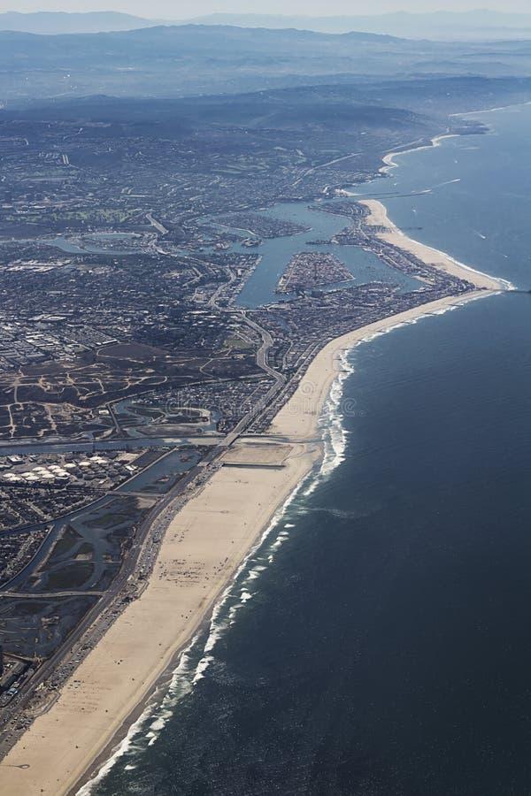 巴波亚半岛鸟瞰图在新港海滨,加利福尼亚 免版税库存图片