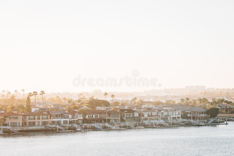 巴波亚海岛看法从监视点的在科罗娜del Mar,新港海滨,加利福尼亚 库存图片