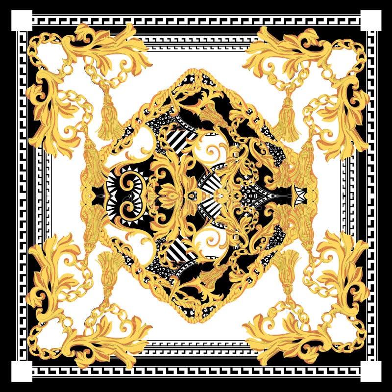 巴洛克式与白色黑金围巾 在巴洛克式,洛可可式的样式的金黄元素 皇族释放例证