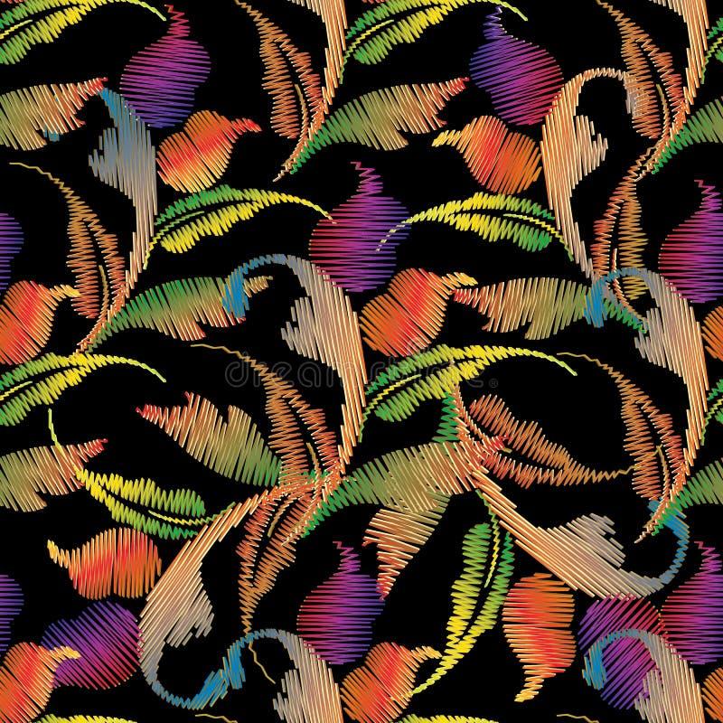 巴洛克式的刺绣无缝的样式 挂毯五颜六色的花, 皇族释放例证