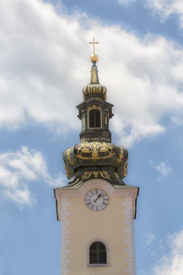 巴洛克式的基督教会的塔 免版税图库摄影