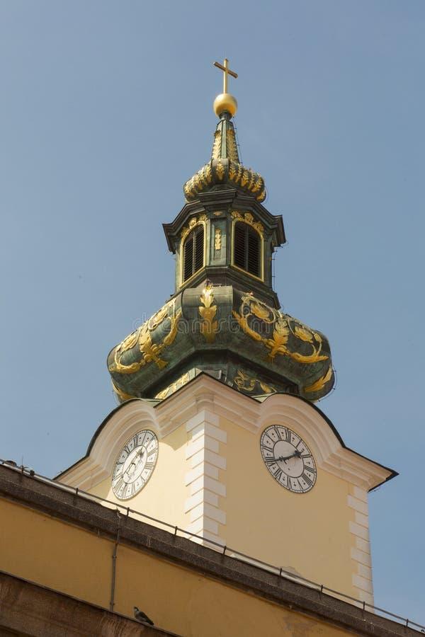 巴洛克式的教会的塔 库存照片