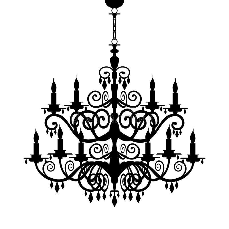 巴洛克式的枝形吊灯剪影 向量例证