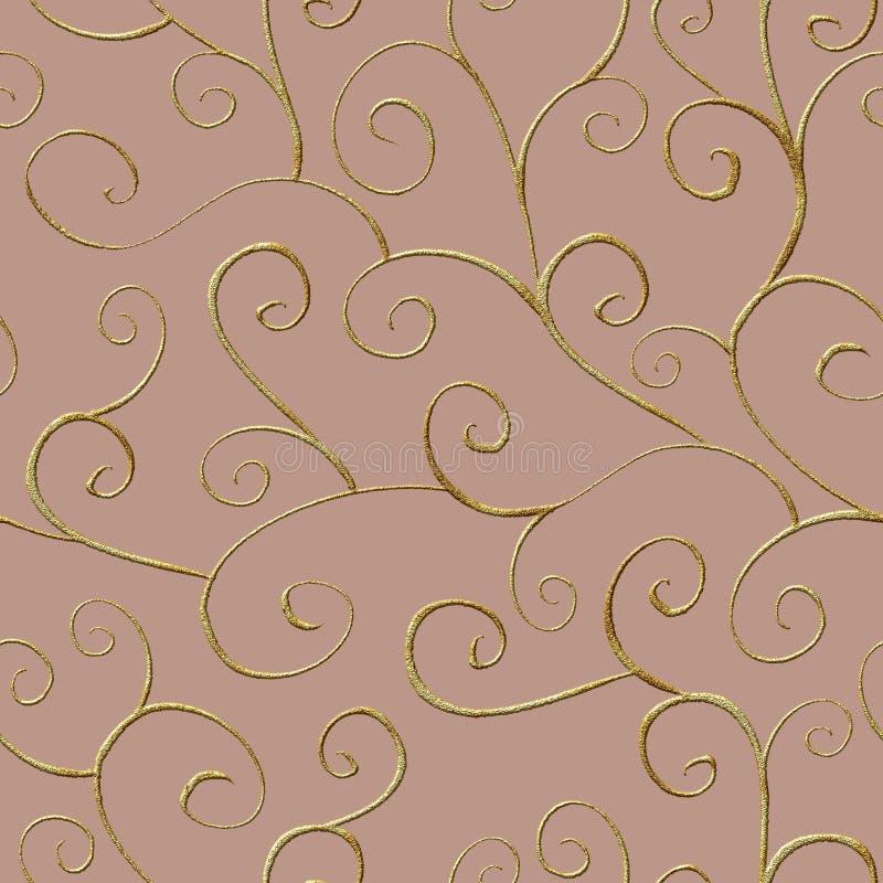 巴洛克式的样式无缝的样式装饰品背景 典雅的豪华时尚纹理 向量例证