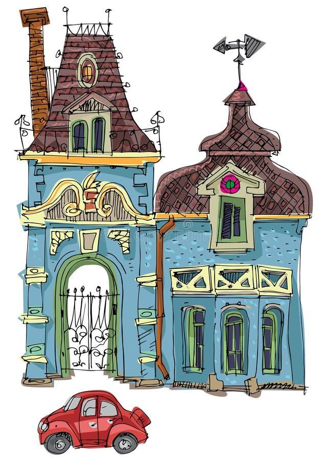 巴洛克式的样式的一个逗人喜爱的小的宫殿 库存例证