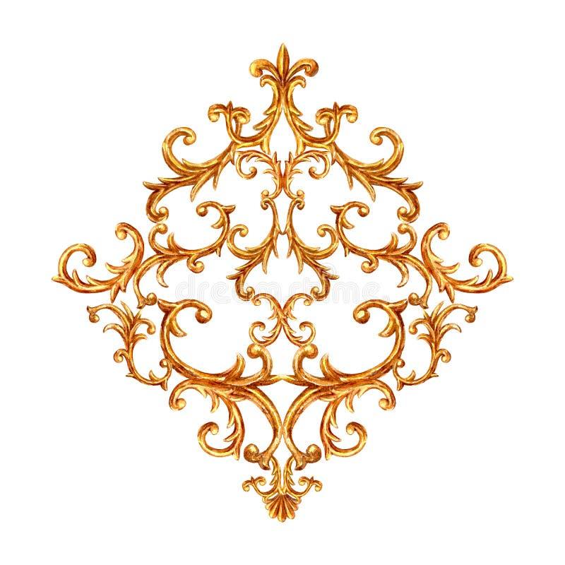 巴洛克式的样式金元素 刻记花卉纸卷金银细丝工的菱形设计的水彩手拉的葡萄酒 库存图片