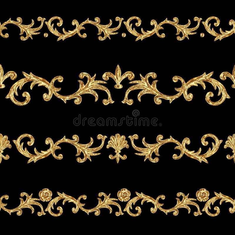 巴洛克式的样式金黄装饰段无缝的样式 手拉的金边界框架 库存例证