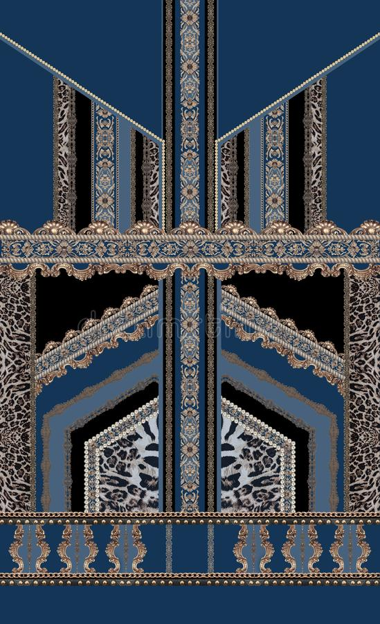 巴洛克式的深蓝色豪华设计无缝的样式versace的洛可可式 皇族释放例证