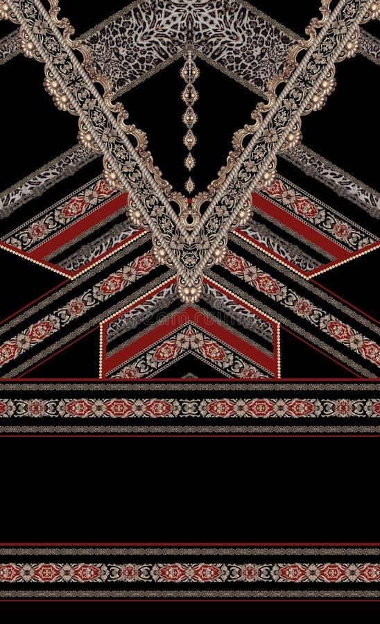 巴洛克式的红色设计金子样式典雅的时尚纺织品 向量例证