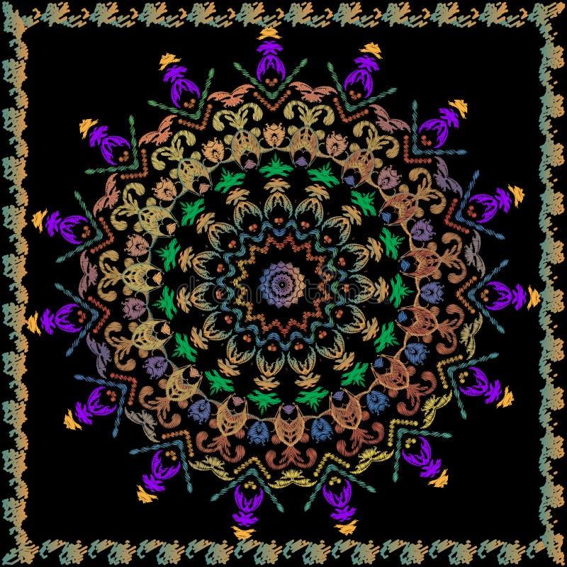 巴洛克式的装饰刺绣回合坛场样式 传染媒介葡萄酒难看的东西背景 五颜六色装饰老牌的锦缎 库存例证