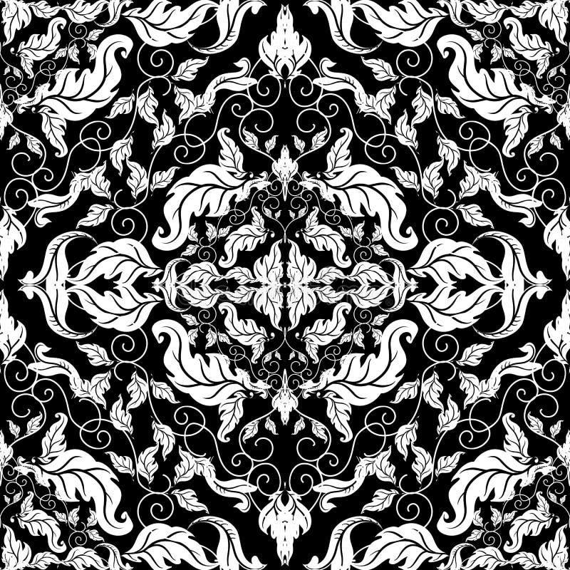 巴洛克式的装饰葡萄酒无缝的样式 传染媒介锦缎背景 巴洛克式的样式重复背景 手拉的线艺术网眼图案 皇族释放例证