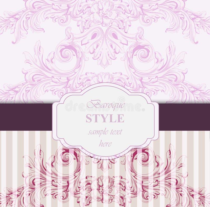 巴洛克式的邀请卡片传染媒介 豪华经典装饰品 婚姻的,党,纺织品葡萄酒皇家维多利亚女王时代的纹理 向量例证