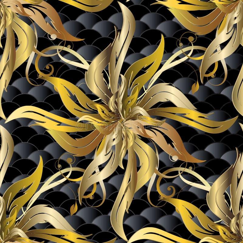 巴洛克式的金子3d传染媒介无缝的样式 织地不很细花卉样式 向量例证