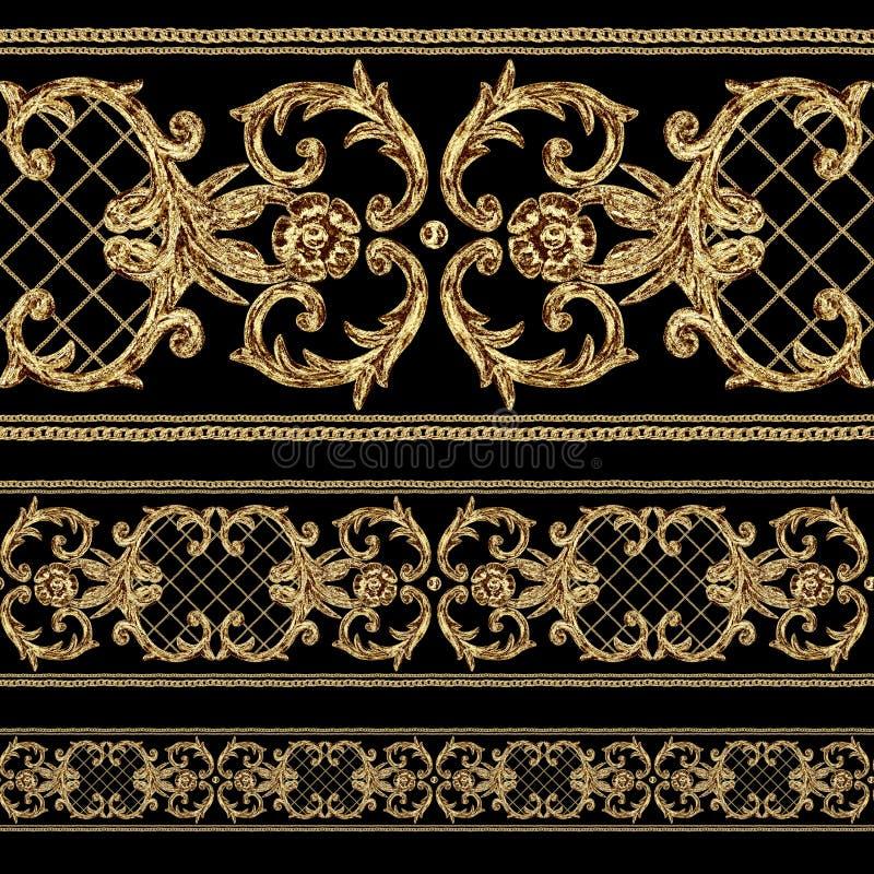巴洛克式的金黄装饰段无缝的样式 在黑背景的水彩手拉的金边界元素 皇族释放例证
