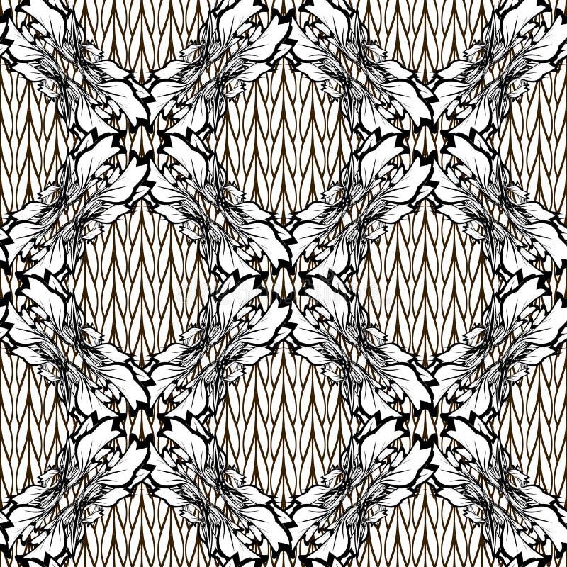 巴洛克式的锦缎传染媒介黑白无缝的样式 编织 库存例证
