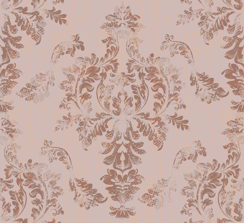 巴洛克式的锦缎样式传染媒介 皇家织品背景 豪华纹理装饰 皇族释放例证