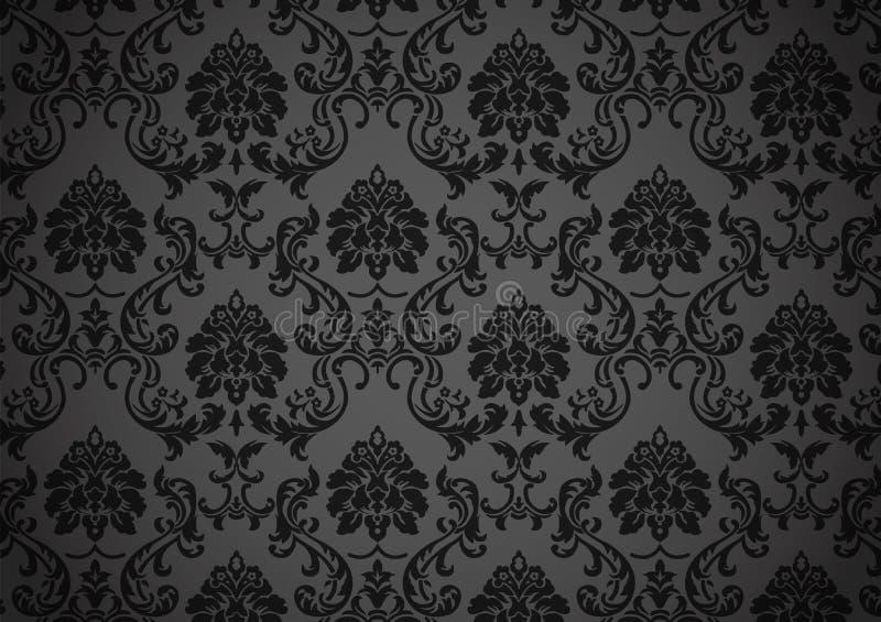 巴洛克式的黑暗的墙纸 库存例证