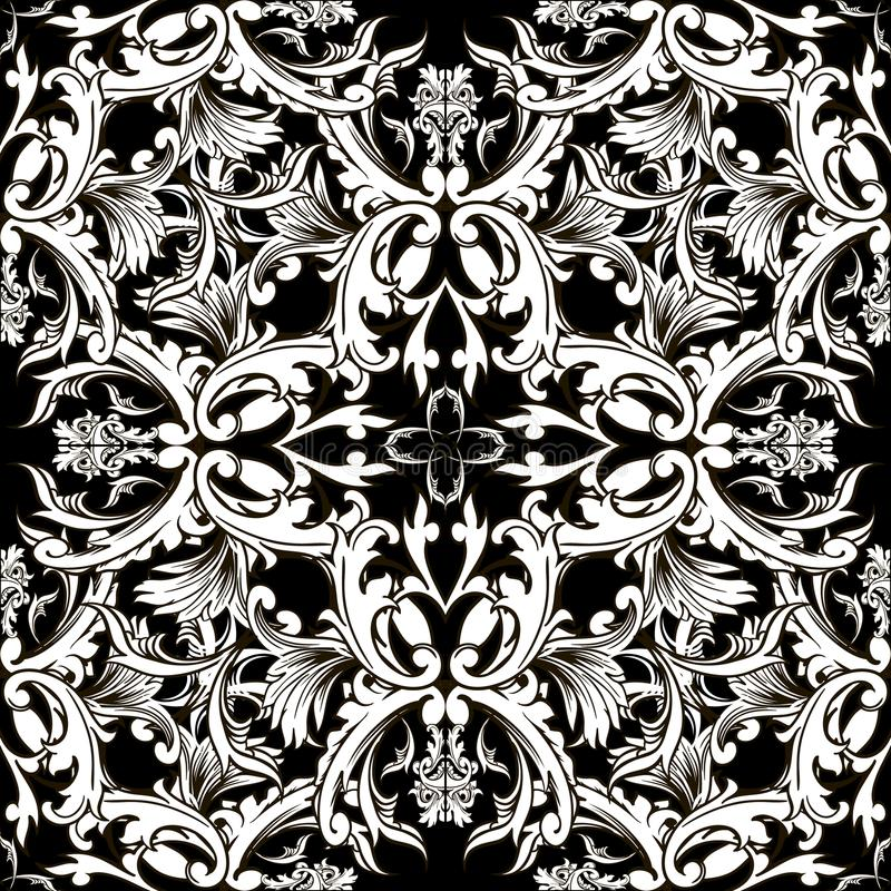 巴洛克式的黑白传染媒介无缝的样式 锦缎花卉b 库存例证